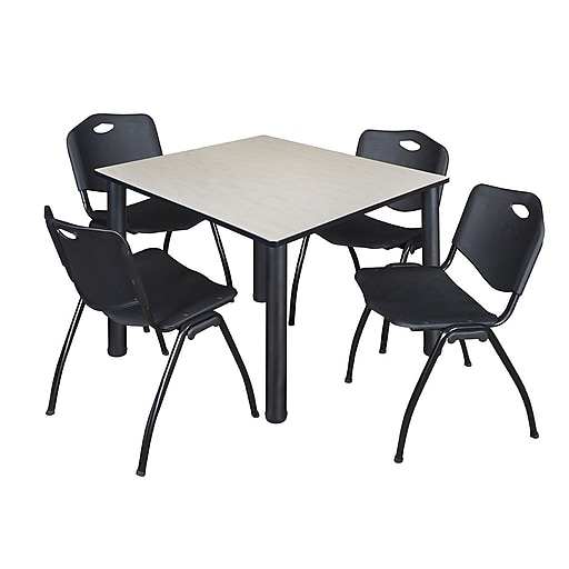 """Regency Kee 48"""" Square Breakroom Table- Maple/ Black and 4 'M' Stack Chairs- Black  (TB4848PLBPB47BK)"""