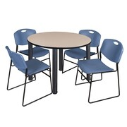 "Regency Kee 48"" Round Breakroom Table- Beige/ Black and 4 Zeng Stack Chairs- Blue (TB48RDBEBPB44BE)"