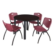 "Regency Kee 48"" Round Breakroom Table- Mocha Walnut/ Black and 4 'M' Stack Chairs- Burgundy  (TB48RDMWBPB47BY)"