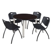 "Regency Kee 48"" Round Breakroom Table- Mocha Walnut/ Chrome and 4 'M' Stack Chairs- Black  (TB48RDMWBPC47BK)"
