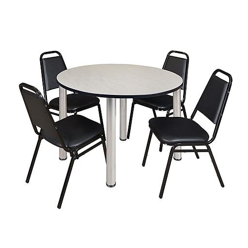 "Regency Kee 48"" Round Breakroom Table- Maple/ Chrome & 4 Restaurant Stack Chairs- Black [TB48RNDPLBPCM29BK]"