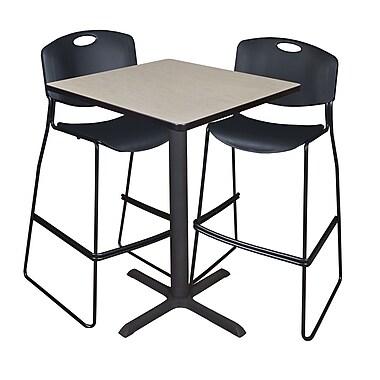 Regency – Table à café carrée Cain de 30 po, érable, avec 2 tabourets empilables Zeng, noir (TCB3030PL4495BK)