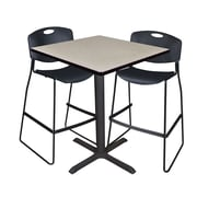 """Regency Cain 36"""" Square Cafe Table- Maple and 2 Zeng Stack Stools- Black (TCB3636PL4495BK)"""