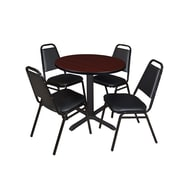"Regency Cain 30"" Round Breakroom Table- Mahogany and 4 Restaurant Stack Chairs- Black (TB30RNDMH29BK)"