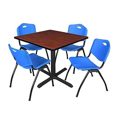 Regency ? Table carrée de salle de pause Cain beige de 36 po et 4 chaises empilables « M »