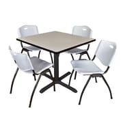 "Regency Cain 36"" Square Breakroom Table- Maple and 4 'M' Stack Chairs- Grey (TB3636PL47GY)"