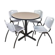 "Regency Cain 36"" Round Breakroom Table- Beige and 4 'M' Stack Chairs- Grey (TB36RNDBE47GY)"