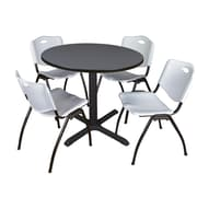 "Regency Cain 36"" Round Breakroom Table- Grey and 4 'M' Stack Chairs- Grey (TB36RNDGY47GY)"