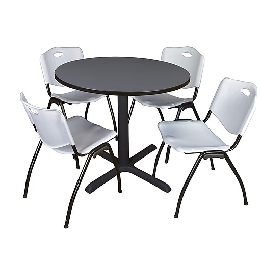 regency cain 36 round breakroom table grey and 4 39 m 39 stack chairs grey tb36rndgy47gy staples. Black Bedroom Furniture Sets. Home Design Ideas