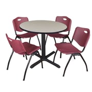 "Regency Cain 36"" Round Breakroom Table- Maple and 4 'M' Stack Chairs- Burgundy (TB36RNDPL47BY)"
