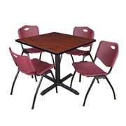 """Regency Cain 42"""" Square Breakroom Table- Cherry and 4 'M' Stack Chairs- Burgundy (TB4242CH47BY)"""