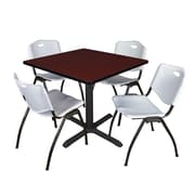 """Regency Cain 42"""" Square Breakroom Table- Mahogany and 4 'M' Stack Chairs- Grey (TB4242MH47GY)"""