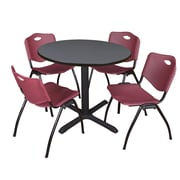 """Regency Cain 42"""" Round Breakroom Table- Grey and 4 'M' Stack Chairs- Burgundy (TB42RNDGY47BY)"""