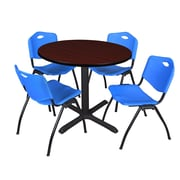 """Regency Cain 42"""" Round Breakroom Table- Mahogany and 4 'M' Stack Chairs- Blue (TB42RNDMH47BE)"""
