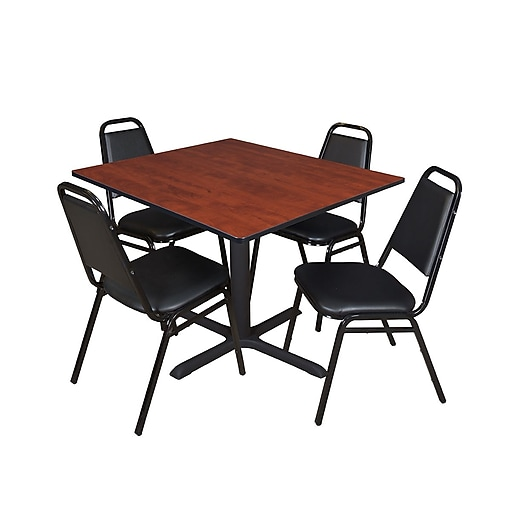 "Regency Cain Breakroom Table, 48""W, Cherry & 4 Restaurant Stack Chairs, Black (TB4848CH29BK)"
