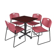 """Regency Kobe 30"""" Square Breakroom Table- Mahogany and 4 Zeng Stack Chairs- Burgundy (TKB3030MH44BY)"""