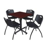 "Regency Kobe 30"" Square Breakroom Table- Mahogany and 4 'M' Stack Chairs- Black (TKB3030MH47BK)"