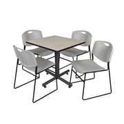 "Regency Kobe 30"" Square Breakroom Table- Maple and 4 Zeng Stack Chairs- Grey (TKB3030PL44GY)"