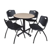 """Regency Kobe 30"""" Round Breakroom Table- Beige and 4 'M' Stack Chairs- Black (TKB30RNDBE47BK)"""