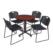 "Regency Kobe 30"" Round Breakroom Table- Cherry and 4 Zeng Stack Chairs- Black (TKB30RNDCH44BK)"