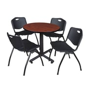 "Regency Kobe 30"" Round Breakroom Table- Cherry and 4 'M' Stack Chairs- Black (TKB30RNDCH47BK)"