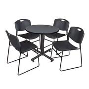 "Regency Kobe 30"" Round Breakroom Table- Grey and 4 Zeng Stack Chairs- Black (TKB30RNDGY44BK)"