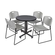 """Regency Kobe 30"""" Round Breakroom Table- Grey and 4 Zeng Stack Chairs- Grey (TKB30RNDGY44GY)"""