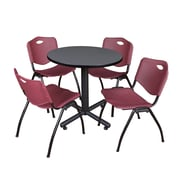 """Regency Kobe 30"""" Round Breakroom Table- Grey and 4 'M' Stack Chairs- Burgundy (TKB30RNDGY47BY)"""