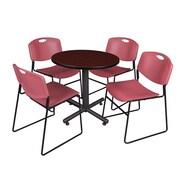 "Regency Kobe 30"" Round Breakroom Table- Mahogany and 4 Zeng Stack Chairs- Burgundy (TKB30RNDMH44BY)"