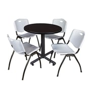 "Regency Kobe 30"" Round Breakroom Table- Mocha Walnut  and 4 'M' Stack Chairs- Grey (TKB30RNDMW47GY)"
