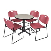 """Regency Kobe 30"""" Round Breakroom Table- Maple and 4 Zeng Stack Chairs- Burgundy (TKB30RNDPL44BY)"""
