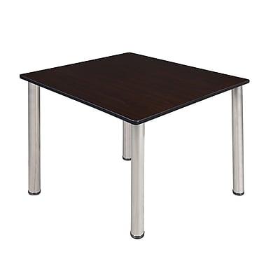 Regency – Table de salle de pause carrée Kee de 48 po, noyer moka/chrome (TB4848MWBPCM)