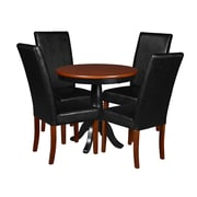 "Niche Mod 30"" Round Pedestal Table- Cherry/Black and 4 Tyler Dining Room Chairs- Cherry/Black (TVCTR30CH60CH4)"