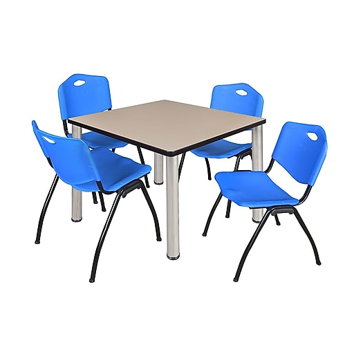 "Regency Kee 42"" Square Breakroom Table- Beige/ Chrome and 4 'M' Stack Chairs- Blue (TB4242BEPCM47BE)"