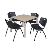 "Regency Kee 42"" Square Breakroom Table- Beige/ Chrome and 4 'M' Stack Chairs- Black (TB4242BEPCM47BK)"