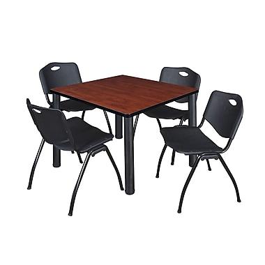 Regency – Table de salle de pause carrée Kee de 42 po, cerisier/noir, avec 4 chaises empilables M, noir (TB4242CHPBK47BK)