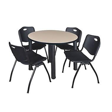 Regency – Table de salle de pause ronde Kee de 42 po, beige et noir, avec 4 chaises empilables M, noir (TB42RDBEPBK47BK)