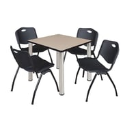 "Regency Kee 30"" Square Breakroom Table- Beige/ Chrome and 4 'M' Stack Chairs- Black (TB3030BEPCM47BK)"
