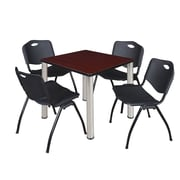"Regency Kee 30"" Square Breakroom Table- Mahogany/ Chrome and 4 'M' Stack Chairs- Black (TB3030MHPCM47BK)"