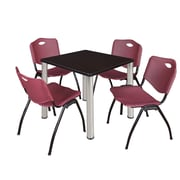 """Regency Kee 30"""" Square Breakroom Table- Mocha Walnut/ Chrome and 4 'M' Stack Chairs- Burgundy (TB3030MWPCM47BY)"""