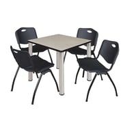 "Regency Kee 30"" Square Breakroom Table- Maple/ Chrome and 4 'M' Stack Chairs- Black (TB3030PLPCM47BK)"
