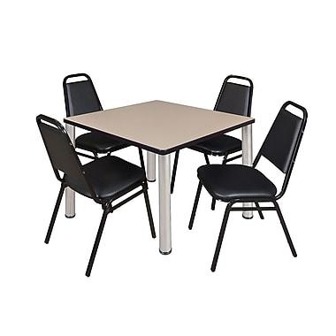 Regency – Table de salle de pause carrée Kee de 36 po, beige/chrome, 4 chaises empilables Restaurant, noir (TB3636BEPCM29BK)