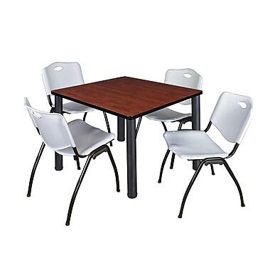 Regency – Table de salle de pause carrée Kee de 36 po, cerisier/noir, avec 4 chaises empilables M, gris (TB3636CHPBK47GY)