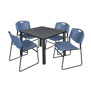 "Regency Kee 36"" Square Breakroom Table- Grey/ Black and 4 Zeng Stack Chairs- Blue (TB3636GYPBK44BE)"