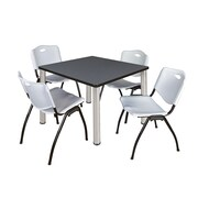 "Regency Kee 36"" Square Breakroom Table- Grey/ Chrome and 4 'M' Stack Chairs- Grey (TB3636GYPCM47GY)"