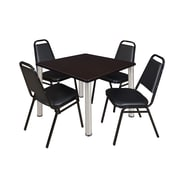 """Regency Kee 36"""" Square Breakroom Table- Mocha Walnut/ Chrome and 4 Restaurant Stack Chairs- Black (TB3636MWPCM29BK)"""