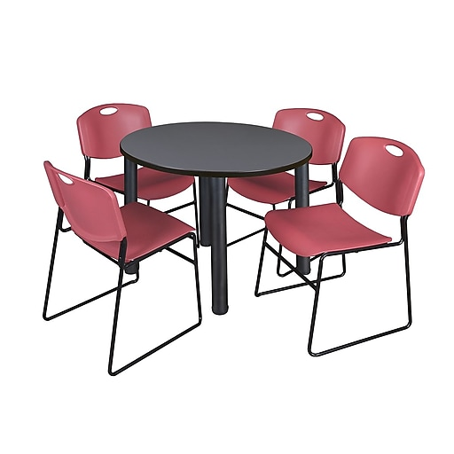 """Regency Kee 42"""" Round Breakroom Table- Grey/ Black and 4 Zeng Stack Chairs- Burgundy (TB42RDGYPBK44BY)"""