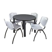 """Regency Kee 42"""" Round Breakroom Table- Grey/ Black and 4 'M' Stack Chairs- Grey (TB42RDGYPBK47GY)"""