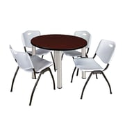 "Regency Kee 42"" Round Breakroom Table- Mahogany/ Chrome and 4 'M' Stack Chairs- Grey (TB42RDMHPCM47GY)"