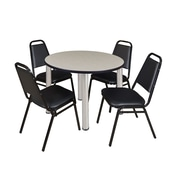 """Regency Kee 42"""" Round Breakroom Table- Maple/ Chrome and 4 Restaurant Stack Chairs- Black (TB42RDPLPCM29BK)"""